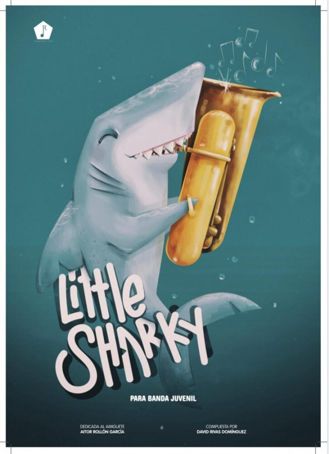 Cartel Little Sharky para bombardino y banda de David Rivas